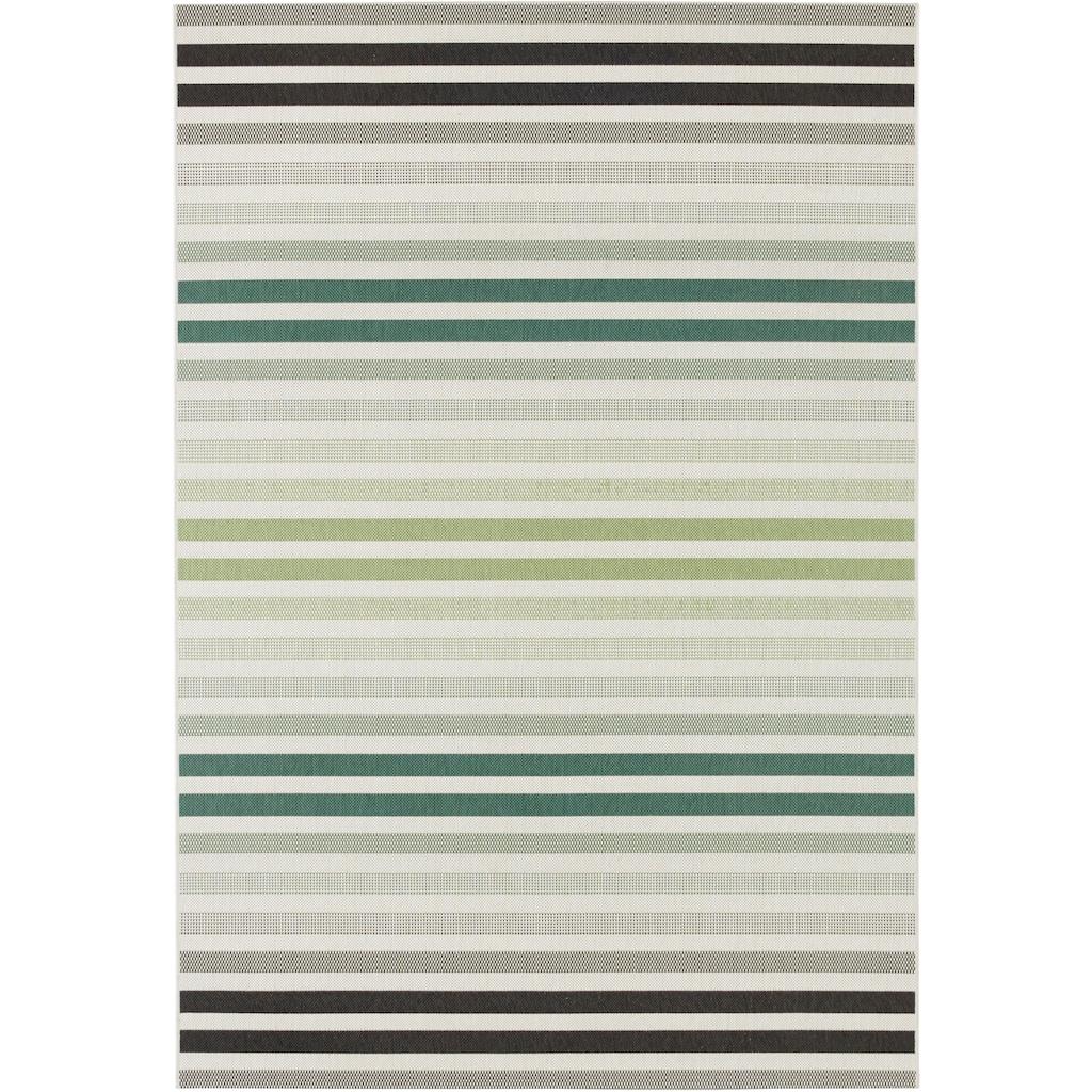 bougari Teppich »Paros«, rechteckig, 8 mm Höhe, Flachgewebe, In- und Outdoor geeignet, Streifen-Design, Für Terasse und Balkon, Wohnzimmer