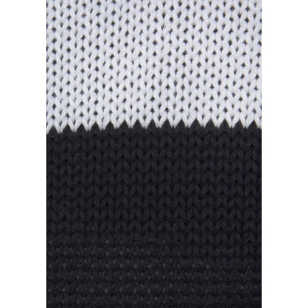 LASCANA Rundhalspullover, mit Blockstreifen
