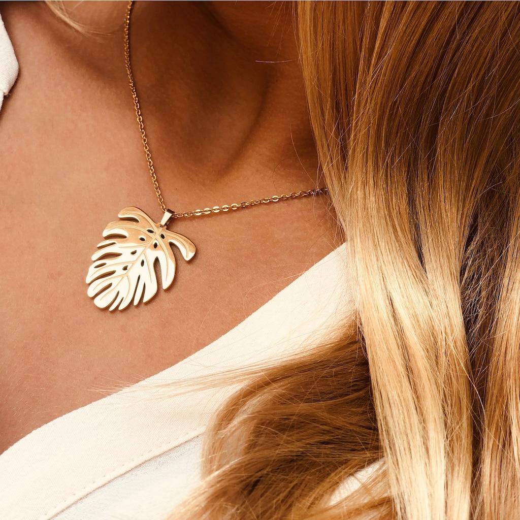AILORIA Kette mit Anhänger »JUNGLE Halskette aus Edelstahl mit Blatt-Anhänger«, Hochglanz-Finish