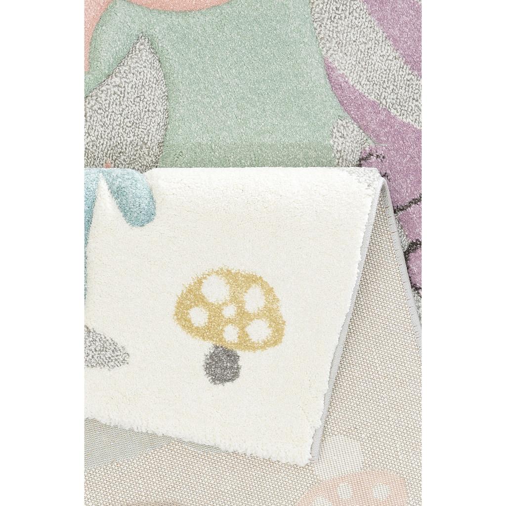 Lüttenhütt Kinderteppich »Wald«, rechteckig, 13 mm Höhe, Motiv Tiere, Pastellfarben, handgearbeiteter Konturenschnitt