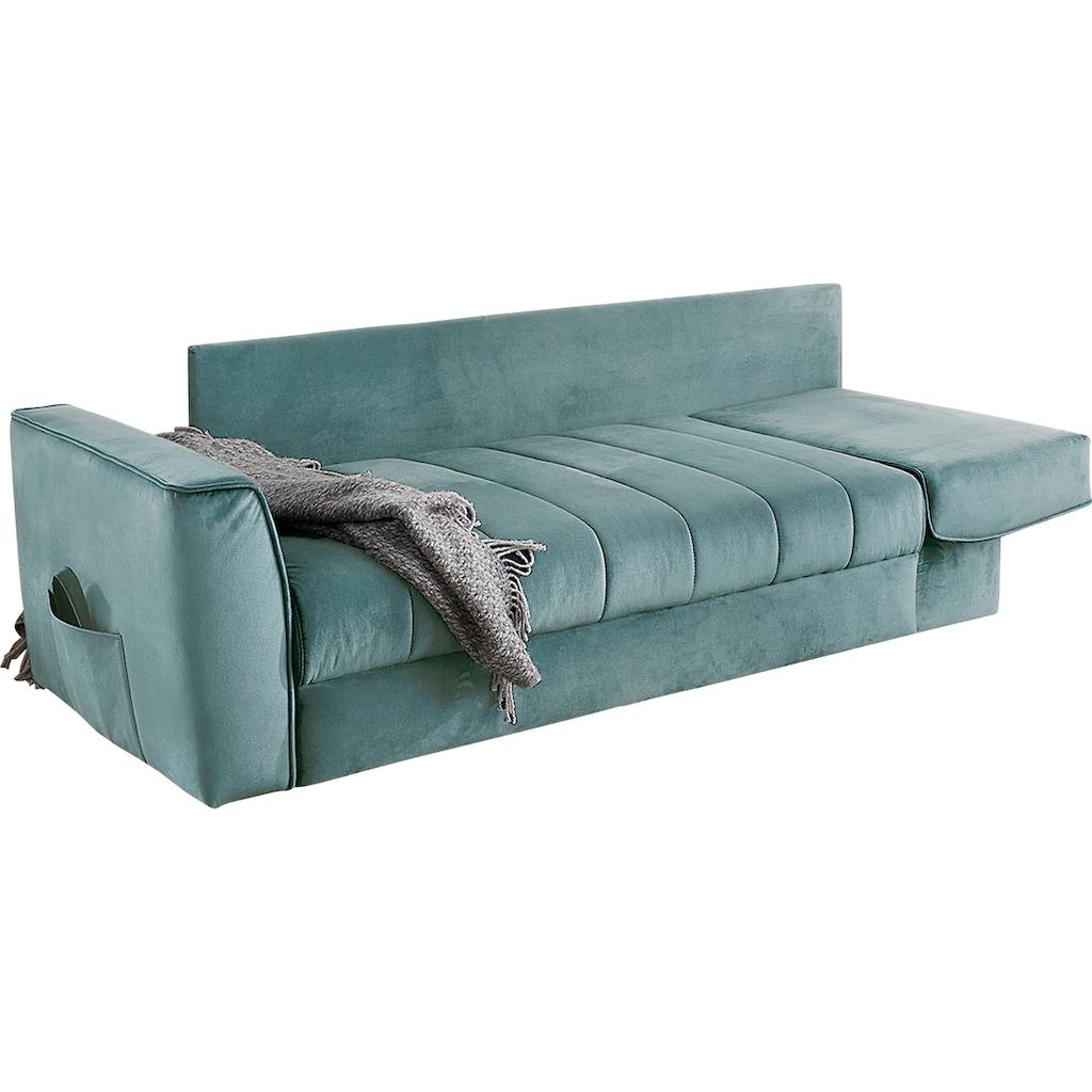 Home affaire Schlafsofa, Platzsparendes Sofa mit Gästebettfunktion, Federkernpolsterung und Stauraum