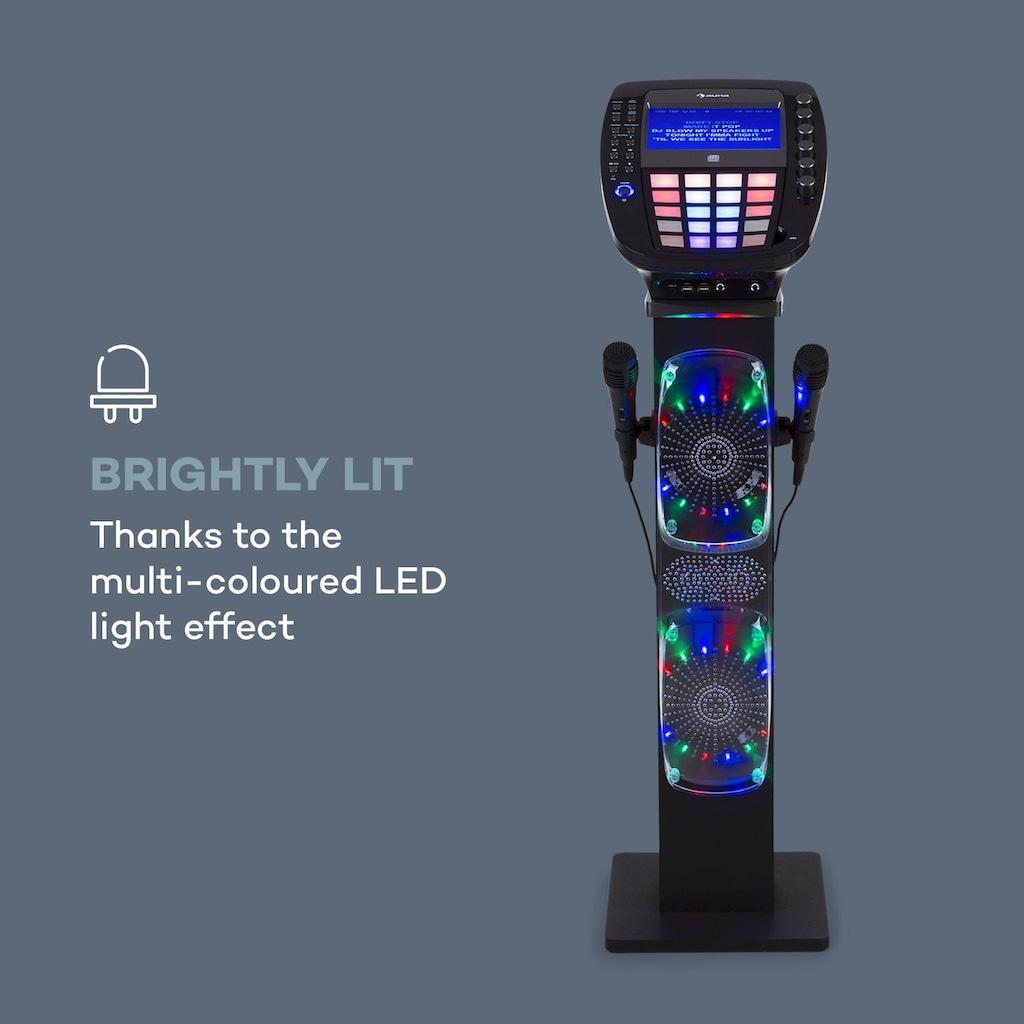 Auna Karaoke Maschine Bluetooth LED USB Lautsprecher mit 2 Mikros