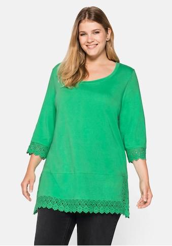Sheego T-Shirt, mit Spitzenborte an Ärmeln und Saum kaufen