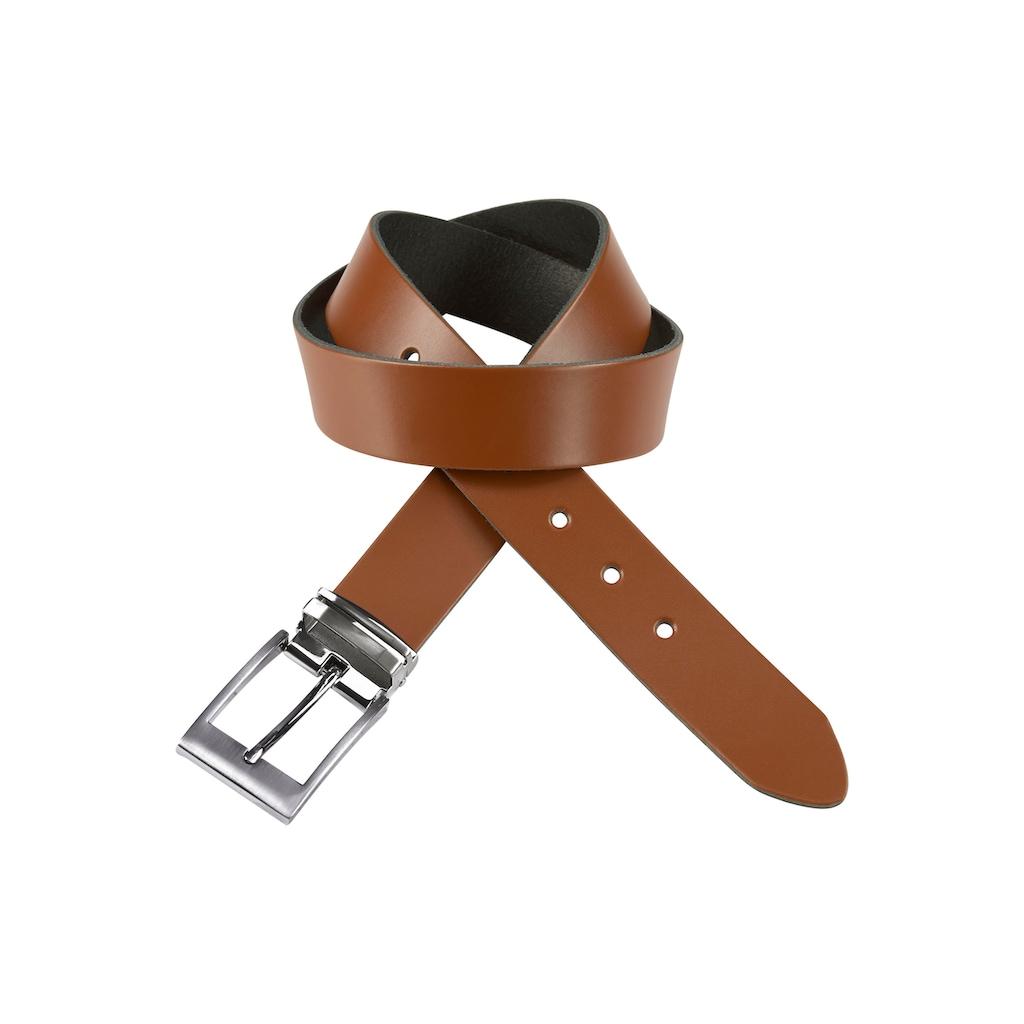 J.Jayz Ledergürtel, mit doppelter Metallschlaufe, Coated Leather, Schließenset silberfarben gebürstet, Herrenledergürtel
