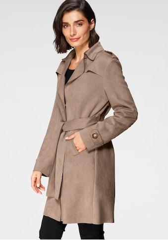 Amber & June Trenchcoat, (mit Bindegürtel), aus leichtem Lederimitat, angeraut kaufen