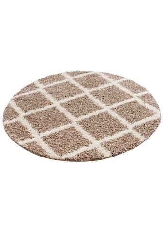 my home Hochflor-Teppich »Linz«, rund, 31 mm Höhe, Rauten Design, Wohnzimmer kaufen