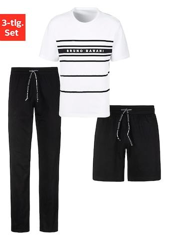 Bruno Banani Schlafanzug, (Spar-Set, 3 tlg.), 3-teilig, Shirt mit Shorts und langer Hose kaufen