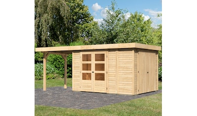 WOODFEELING Set: Gartenhaus »Retola 4«, BxT: 566x262 cm, mit Anbauschrank und Anbaudach kaufen