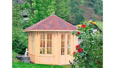 WOLFF FINNHAUS Holzpavillon »Milano 3.0«, BxT: 360x360 cm, mit rot - schwarzen Schindeln kaufen