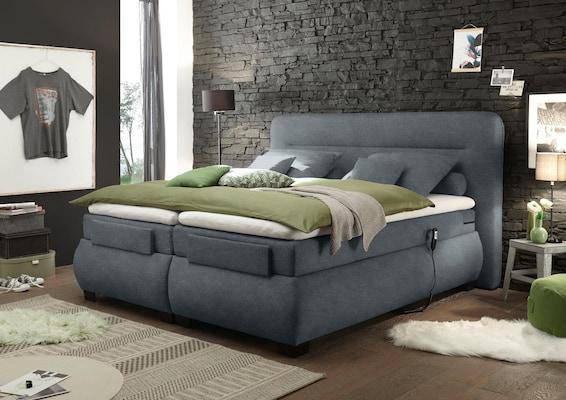 Boxspringbett mit Motor in der Farbe grau