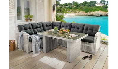 DESTINY Loungeset »Riviera«, 16 - tlg., Ecksofa, Tisch, Polyrattan, inkl. Auflagen kaufen