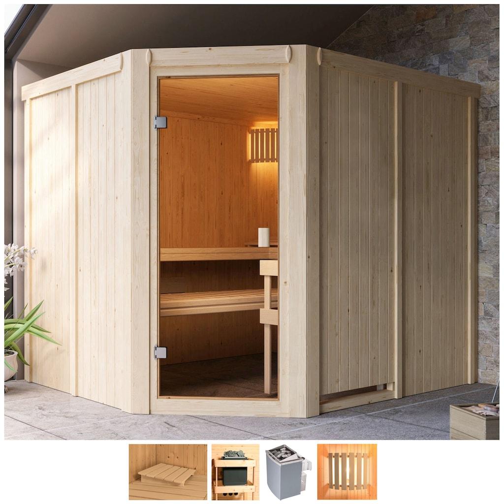 Karibu Sauna »Henrika«, 9-kW-Ofen mit int. Steuerung