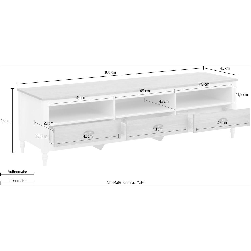 Home affaire Lowboard »Fridau«, aus massivem Kiefernholz, mit Muschelgriffen, Breite 160 cm