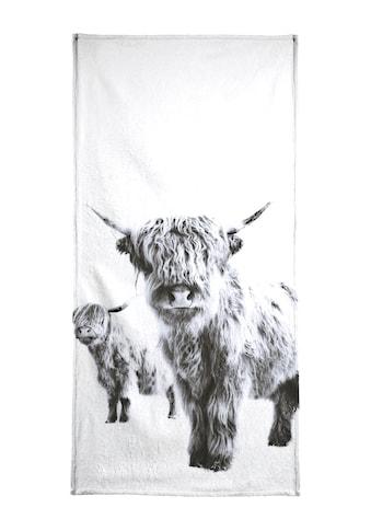 Juniqe Strandtuch »Highland Cows«, (1 St.), Weiche Frottee-Veloursqualität kaufen
