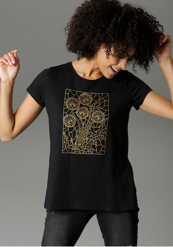 Aniston CASUAL T-Shirt, mit goldfarbenen Foliendruck im Vorderteil - NEUE KOLLEKTION kaufen