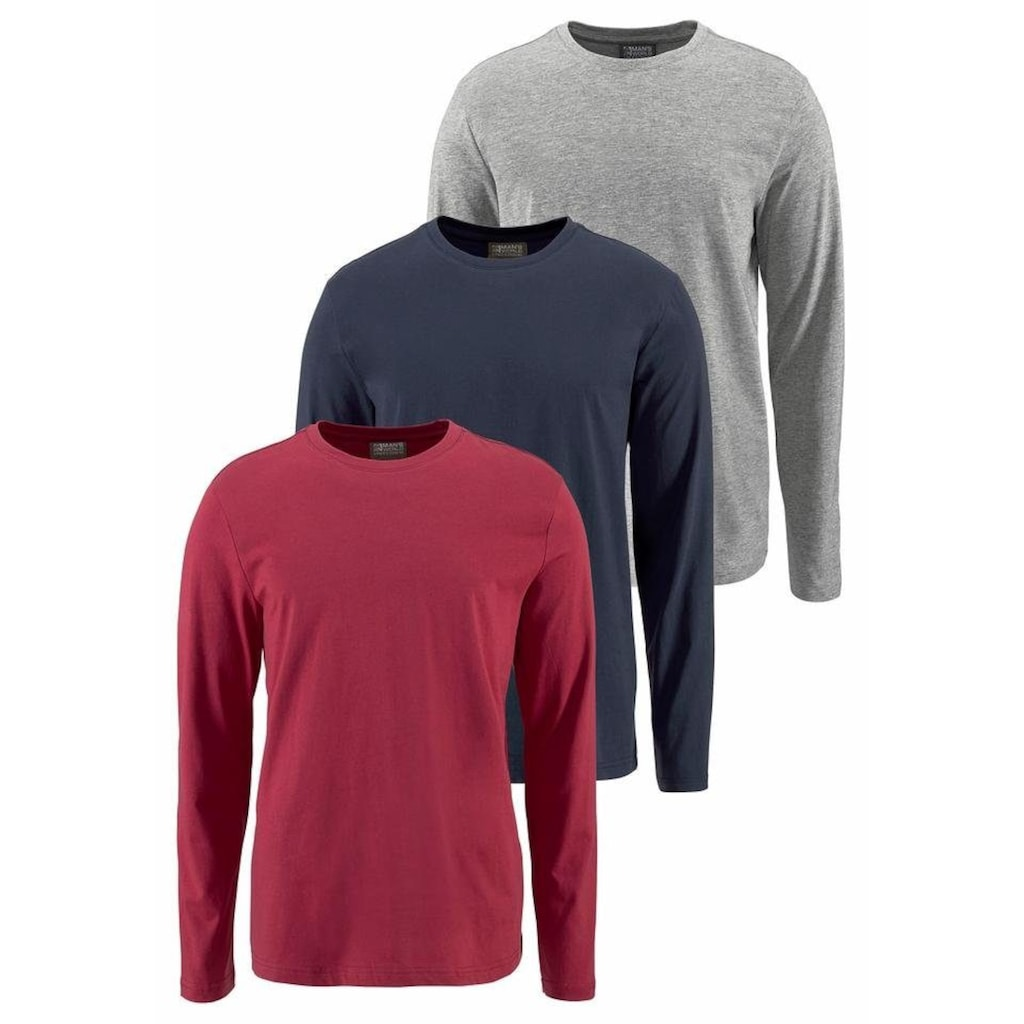 Man's World Langarmshirt, aus reiner Baumwolle