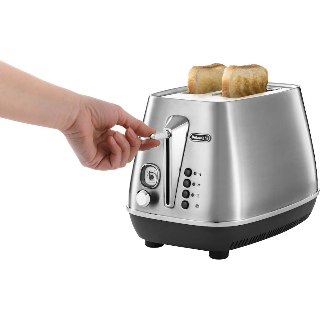 De'Longhi Toaster »Distinta X CTI2103.M«, 2 kurze Schlitze, 900 W, mit Brötchenaufsatz, im Retro Look, Edelstahl
