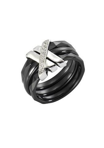 Jacques Lemans Ring 925/- Sterling Silber mit Keramik und Zirkonia kaufen