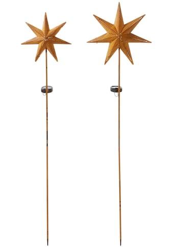 Gartenleuchte »Solarstecker-Set Star«, Warmweiß, aus Metall, Höhe 116 + 120 cm kaufen