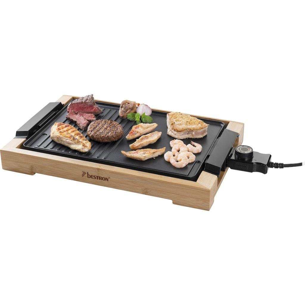 bestron Teppanyakigrill »AG2000BB«, 2000 W, Grillplatte mit Bambusgehäuse, Elektrischer Tischgrill mit Antihaftbeschichtung, Farbe: Schwarz