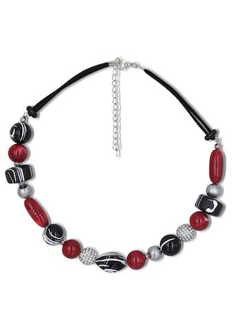 J.Jayz Collier »teilweise mehrreihig, rot, schwarz«, mit Glassteinen und... kaufen