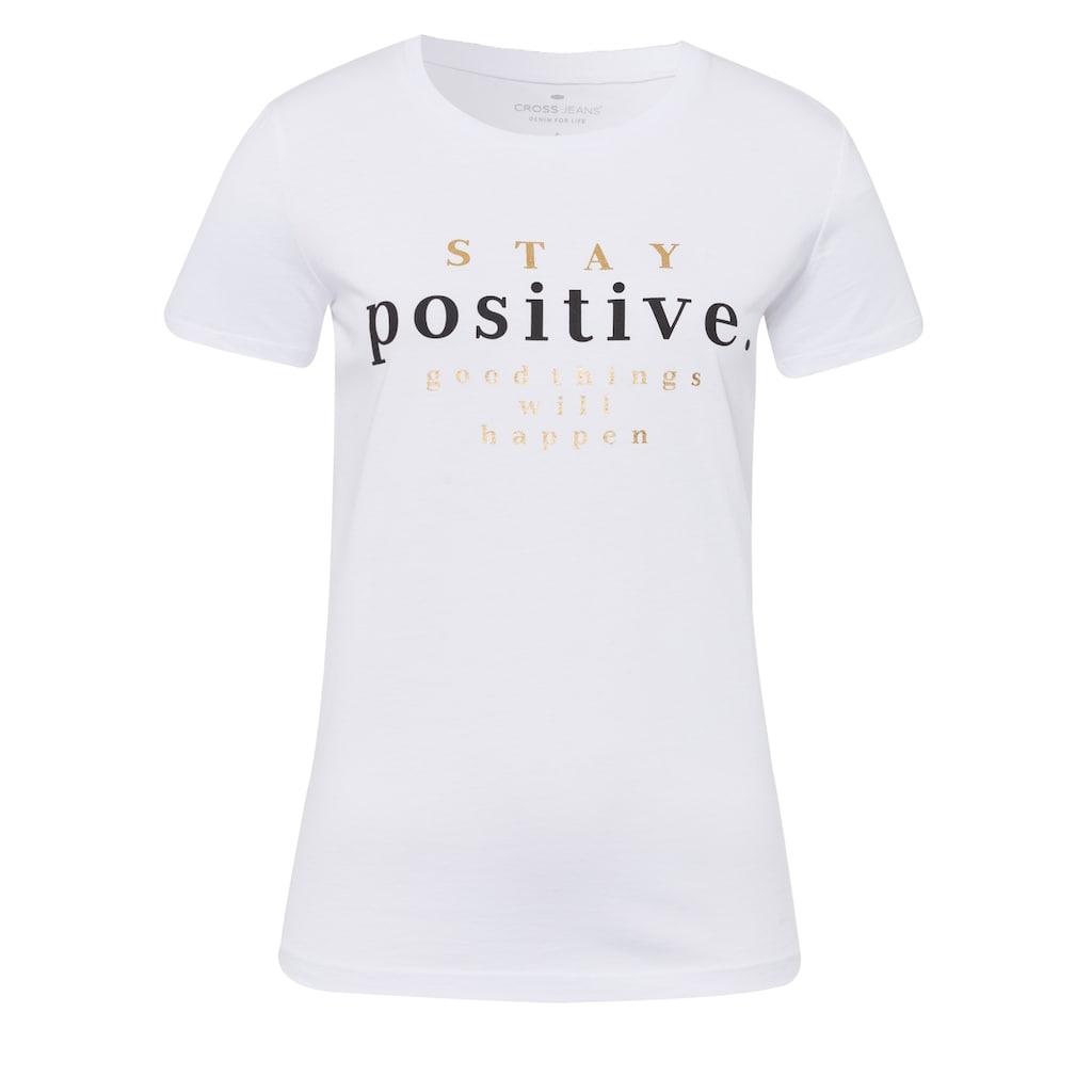 Cross Jeans® T-Shirt »55727«, Mit Mottoschriftzug