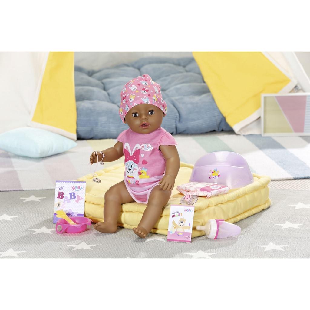 Baby Born Babypuppe »Magic Girl Brown Eyes, 43 cm«, (Set, 13 tlg.), mit 10 lebensechten Funktionen