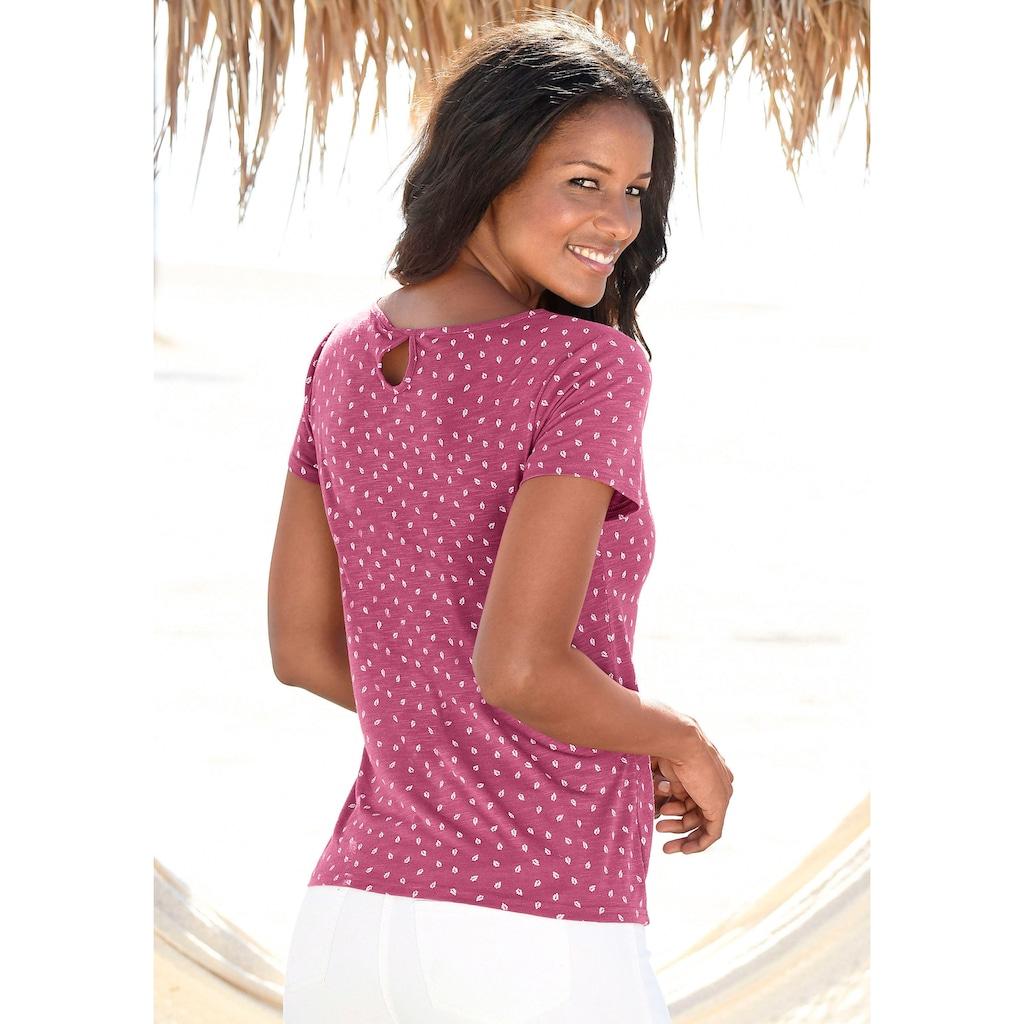 LASCANA T-Shirt, mit süßem Blätter-Druck und Cut-Out im Nacken