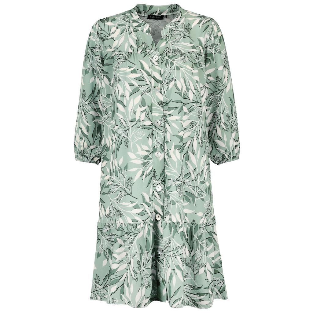 SUBLEVEL A-Linien-Kleid, mit Blätterprint