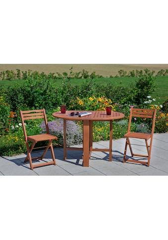 MERXX Gartenmöbelset »Porto«, 3tlg., 2 Sessel, Tisch, klappbar, Eukalyptusholz, natur kaufen