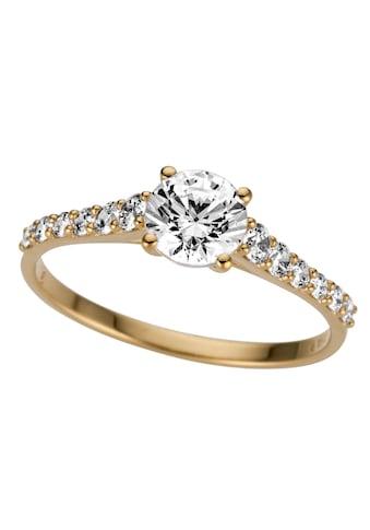 Firetti Goldring »glamourös, glänzend, massiv, Gelbgold«, mit Zirkonia kaufen
