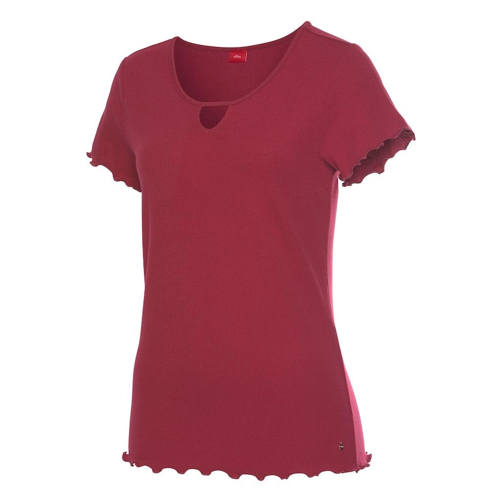 s.Oliver T-Shirt, aus geripptem Stoff mit Kräuselsäumen