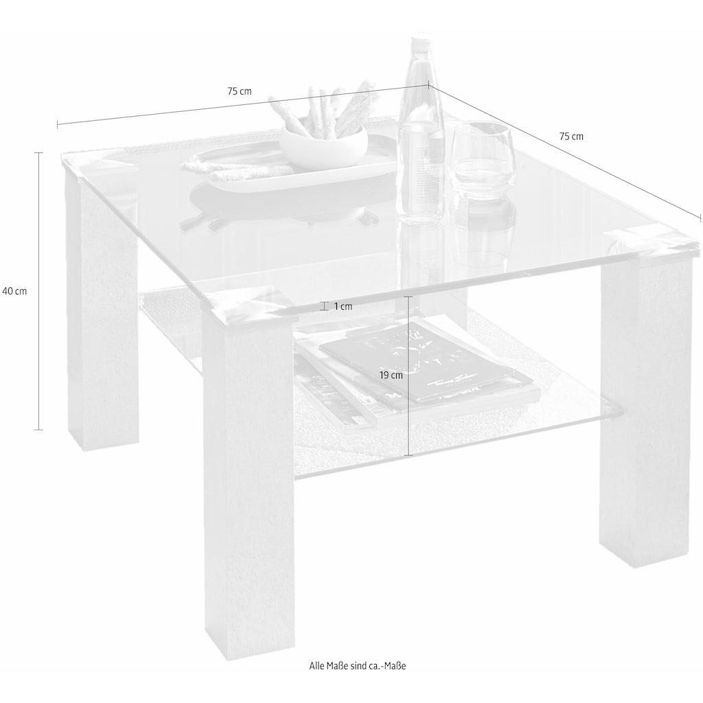 INOSIGN Couchtisch, Couchtisch quadratisch mit Glasplatte und Glasboden