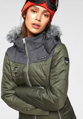 Militärgrüne Skijacke für Damen