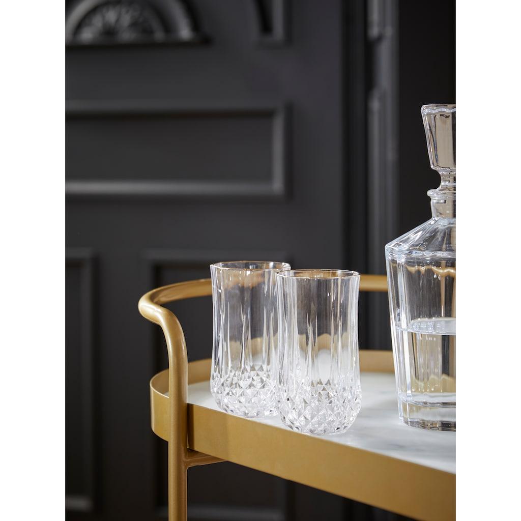 Guido Maria Kretschmer Home&Living Servierwagen »Shinely«, Ablageflächen aus Glas in Marmoroptik