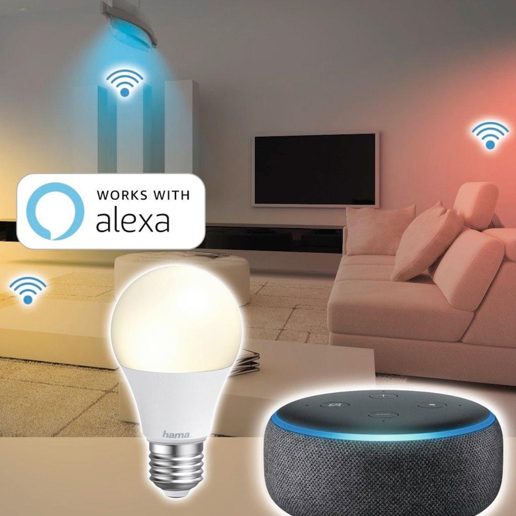 Hama Smarte LED-Leuchte »10W, dimmbar, kein Hub nötig«, WLAN LED Lampe, gesteuert via Alexa/Google/App, E27, Weiß