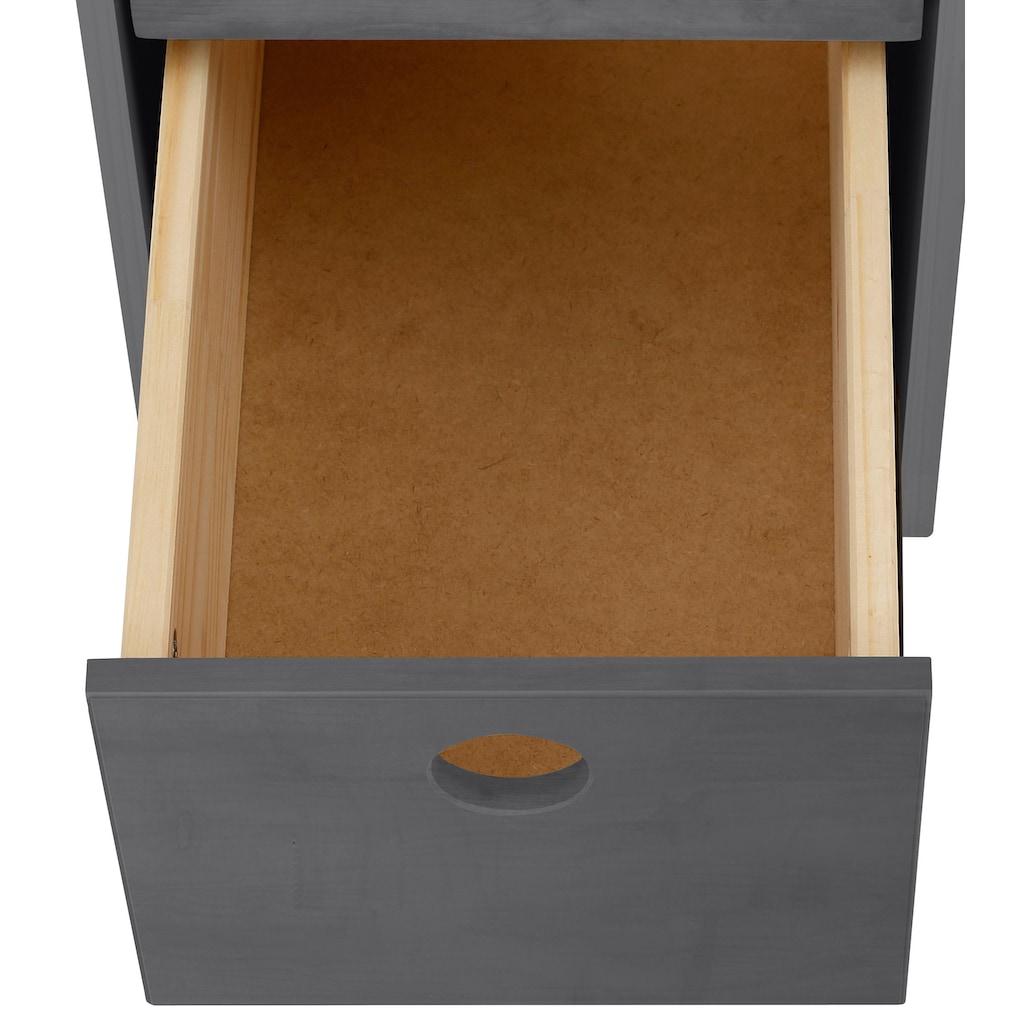 Lüttenhütt Schreibtisch »Alpi«, aus massivem Kiefernholz, Wangengestell, mit 3 Schubkasten und Stauraum unter der Tischplatte, Tischbreite 100 cm