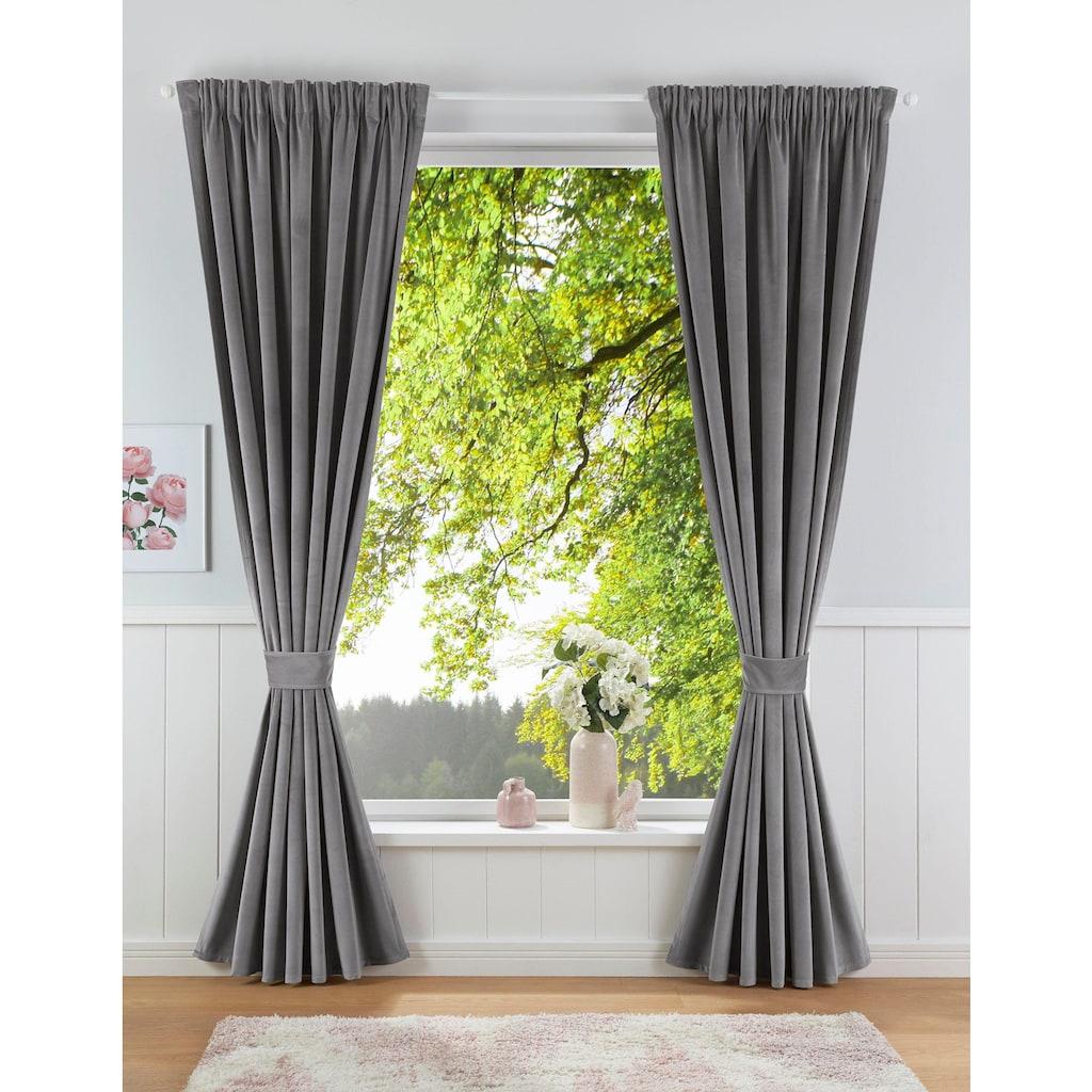 Leonique Vorhang »Velvet-Leonique«, Samt, inkl. Raffhalter, blickdicht, monochrom