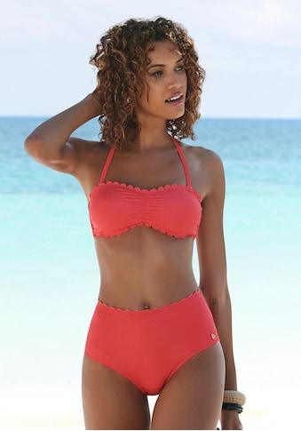 LASCANA Highwaist-Bikini-Hose »Scallop«, mit gelaserter Wellenkante kaufen
