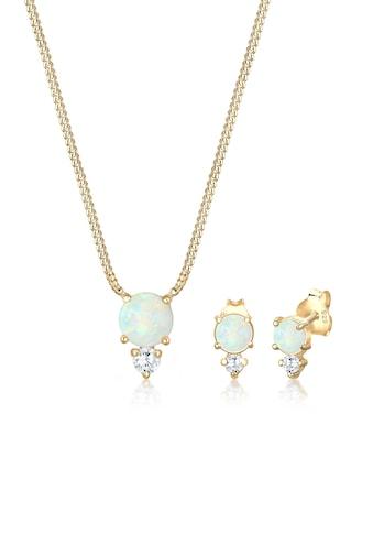 Elli Schmuckset »Geo Zirkonia Synthetischer Opal Trend 925 Silber« kaufen