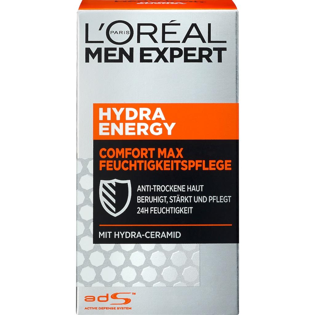 L'ORÉAL PARIS MEN EXPERT Feuchtigkeitscreme »Hydra Energy Comfort Max«, Feuchtigkeitspflege für sensible Haut, zieht schnell ein