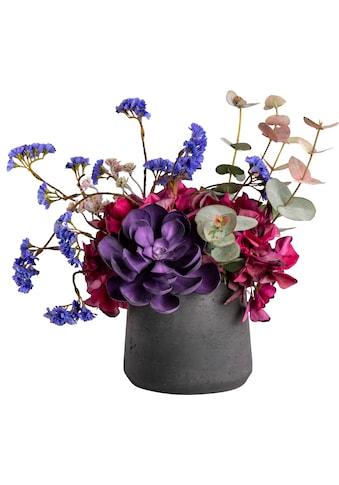 Blütenwerk Kunstblume »Out of Bed«, Blumenarrangement im Fiberstone-Gefäß kaufen