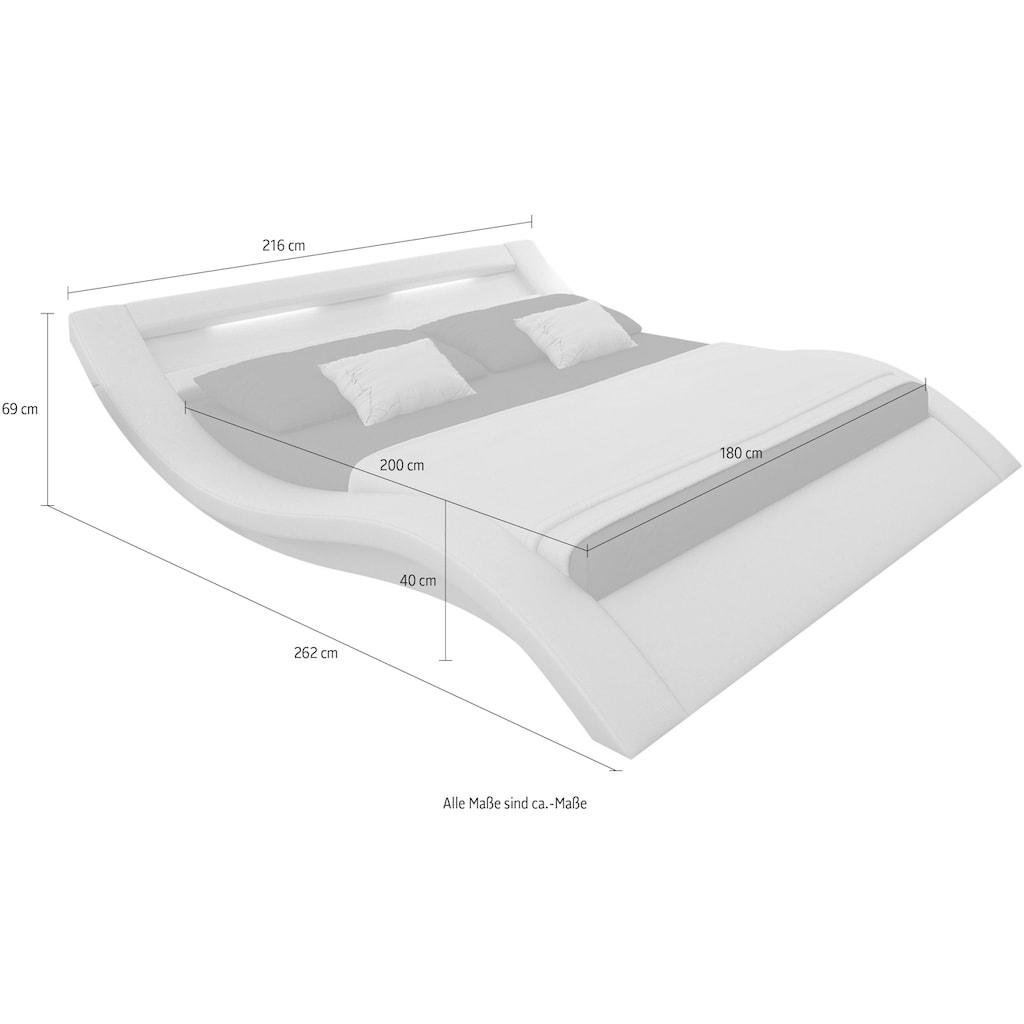 SalesFever Polsterbett, mit LED-Licht im Kopfteil, Lounge Bett in moderner Form, Design Bett in Kunstleder