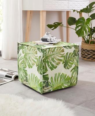 Sitzwürfel mit Blätter-Motiv