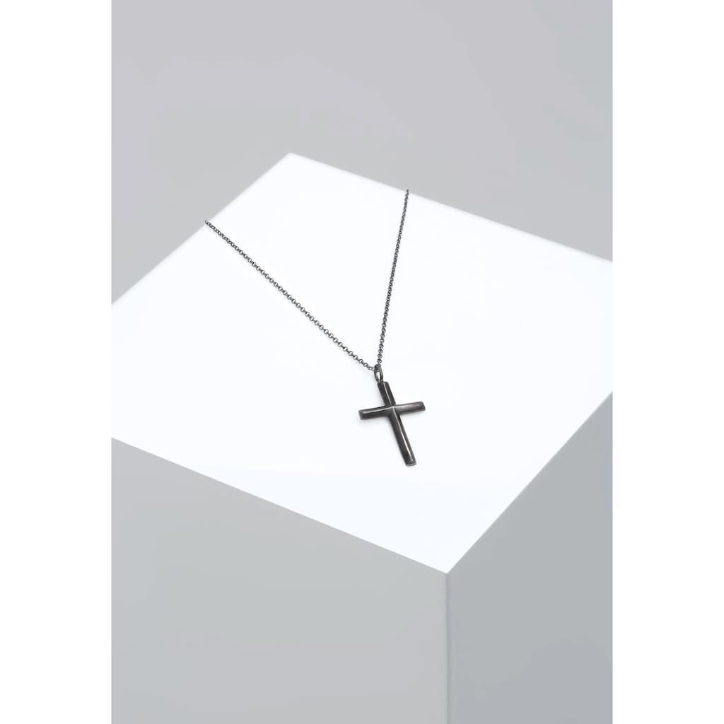 Kuzzoi Lange Kette »Herren mit Kreuz Oxidiert Massiv 925 Silber«