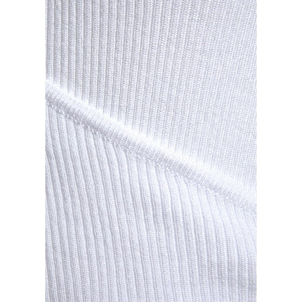 LASCANA Kurzarmpullover, aus weichem Rippstrick