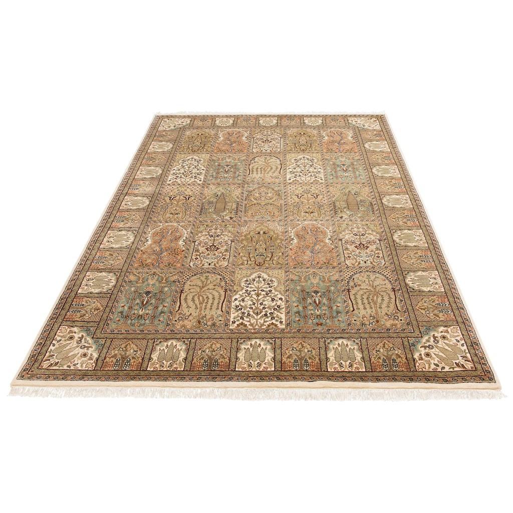 DELAVITA Orientteppich »Suren«, rechteckig, 12 mm Höhe, Flor aus 30% Seide, handgeknüpft, mit Fransen, Wohnzimmer