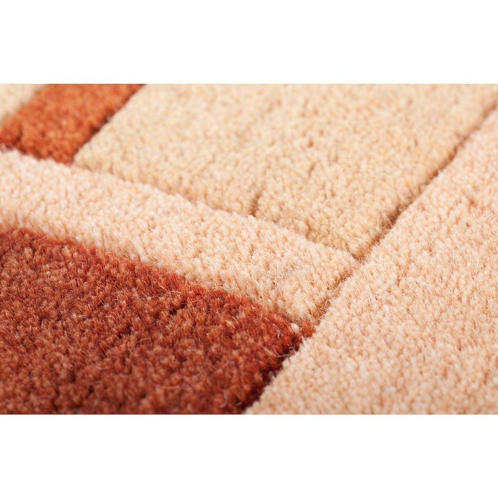 THEKO Wollteppich »Vancouver wool«, rechteckig, 20 mm Höhe, reine Wolle, handgeknüpft, mit Bordüre, Wohnzimmer