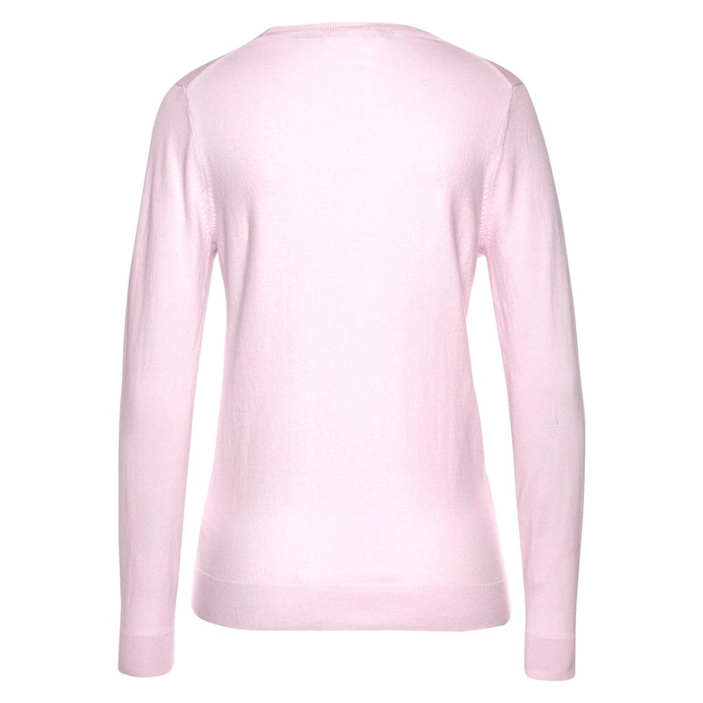 Tommy Hilfiger V-Ausschnitt-Pullover »HERITAGE V-NECK SWEATER«, mit klassichem V-Ausschnitt & Tommy Hilfiger Logo-Flag