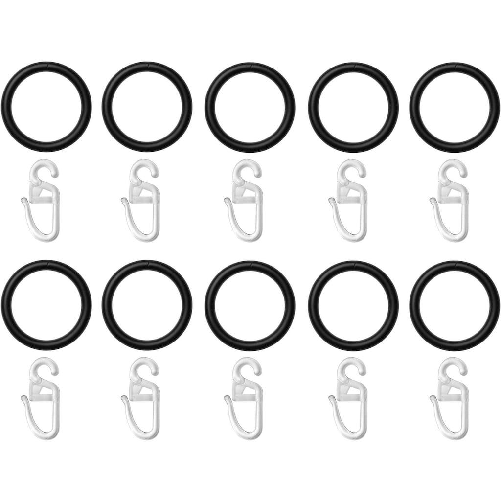 LICHTBLICK ORIGINAL Gardinenring, (Set, 10 St., mit Faltenlegehaken), für Gardinenstangen bis Ø 20 mm